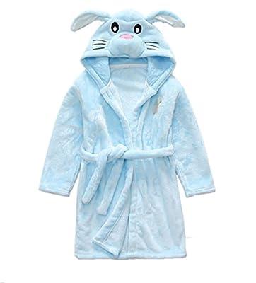 H.X Boy's Gilr's Super Soft Coral Fleece Bathrobe Kids Cute Hooded Nightgowns