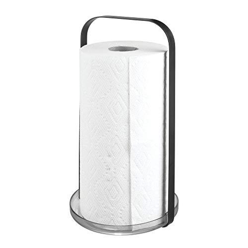 iDesign Küchenrollenhalter ohne Bohren, praktischer Rollenhalter aus Metall für Küchentücher, Küchentuchhalter, mattschwarz