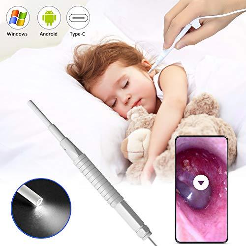 Otoskop, Endoskop für Ohr Otoskopie, Otoskopkamera mit 3,9 mm ultradünner Kameralinse, Ohrenschmalz entfernen, 6 dimmbare LEDs für Erwachsene Kinder, kompatibel mit Android, Windows, Linux und Mac