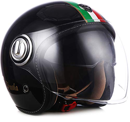 "SOXON® SP-888 ""Imola Black"" · Jet-Helm · Motorrad-Helm Roller-Helm Scooter-Helm Moped Mofa-Helm Chopper Retro Vespa Vintage · ECE 22.05 Sonnenvisier Schnellverschluss SlimShell Tasche L (59-60cm)"