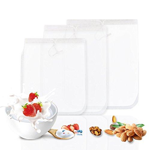 GWHOLE 3 Stück Nussmilchbeutel Passiertuch Filtertuch für Nussmilch Obstsaft Gemüsesaft