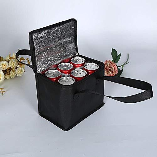 Viner draagbare picknick lunch koeltas voor fles voedsel vers houden van isolatie vouwen thermische zakken waterdicht dikker drankje ijspak, zwart 22x14x17cm