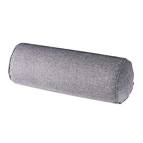 Fablcrew - Almohada cilíndrica de algodón y lino, cojín largo multifuncional para el cuello lumbar 15 x 40 cm