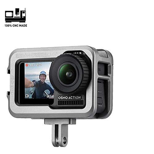 Aluminium-Vlog-Videokäfig für OSMO Action-Kamera, schützendes Metallgehäuse, Legierung Skelett-Rahmen mit 3 Kaltschuh-Halterung für Mikrofon, LED-Videoleuchte für DJI OSMO Action-Vlogging-Einrichtung