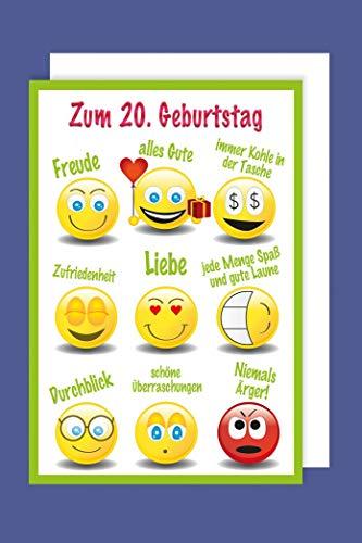 20 Geburtstag Karte Grußkarte Humor Smily Foliendruck 16x11cm