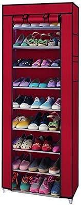 Okayji 10 Tiers Portable Shoes Rack With Dust Proof Cover Shelf Storage Closet Organizer Cabinet Shoe Racks, Maroon