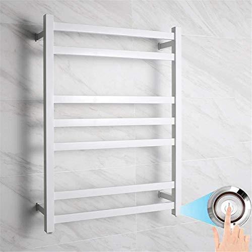 Calentador de pared de baño Calentador de toallas, calentador de toalla eléctrica de acero inoxidable con interruptor LED, Termostato de pared de 7 bar, Railo de toallas con calefacción, Toalla 100W B