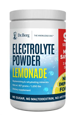 Dr. Berg's Electrolyte Powder, Lemonade PLUS - Hydration Drink Mix Supplement Helps Replenish & Rejuvenate Your Cells Keto Friendly - NO Maltodextrin or Sugar - No Ingredients from China - 90 Servings