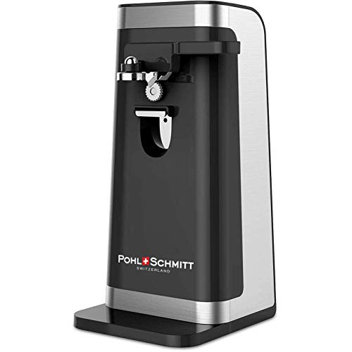 POHL SCHMITT Electric Can Opener, Easy Push Down Lever, Knife Sharpener, Bottle Opener & Built-In Cord Storage, Opens All Standard-Size and Pop-Top Cans, Black