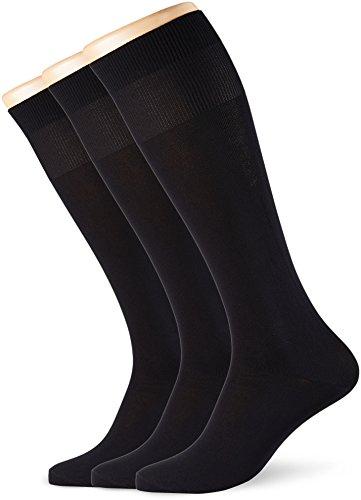 POMPEA Microfibra Calze al ginocchio, Nero (Nero 0071), 39/42 (Taglia produttore:S/M) (Pacco da 3) Uomo