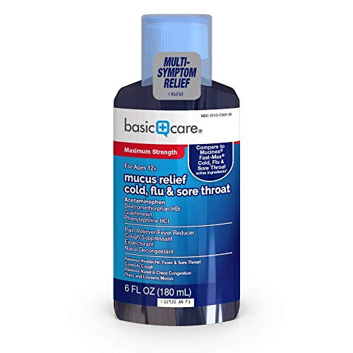 Amazon Basic Care Mucus Relief Cold, Flu & Sore Throat; Helps Relieve Common Cold and Flu Symptoms, 6 Fluid Ounces