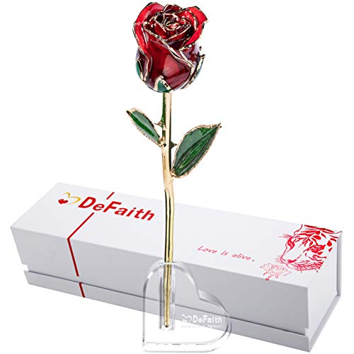 DEFAITH 24K Gold Dipped Real Rose Gifts, Great Wedding Anniversary Valentines Day Love Gift for Her Wife Girlfriend Spouse, with Stand (Red Original)