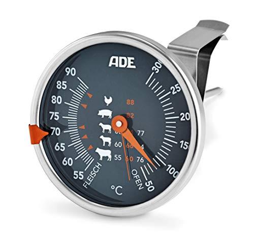 ADE Mechanisches Bratenthermometer BBQ1801 (Ofenthermometer aus Edelstahl mit analoger Skala für Fleischtemperatur und Ofentemperatur)