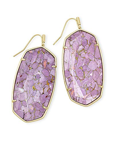 Kendra Scott Faceted Danielle Statement Earrings for Women, Fashion Jewelry, 14k Gold-Plated, Bronze Veined Lilac Magnesite