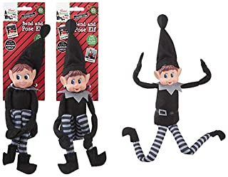 "Elves Behavin Badly 12"" Bendable Poseable Elf with Vinyl Head - Christmas Accessory (Black Elf at Random)"