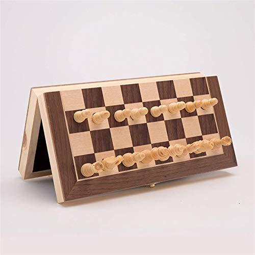 HEZHANG Schachspiel Board Für Kinder Erwachsene Magnetische Holzfalzen Schach Set Gefilzter Spielbrett Innern Aufbewahrung Erwachsene Kinder Geschenk Familie Spiel Chess Board 2 Extra Queen,34Cm Scha