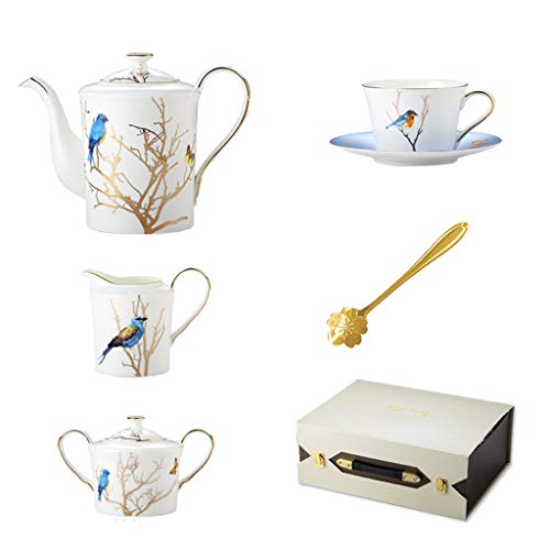 Kiki 11pieces té Blanco Conjunto Porcelana- 1 Tetera 1 Sugar Bowl 1 Leche Creamer, 4 Tazas y 4 cucharas Inicio Taza de café Set Juego de té Regalo (Color : White)