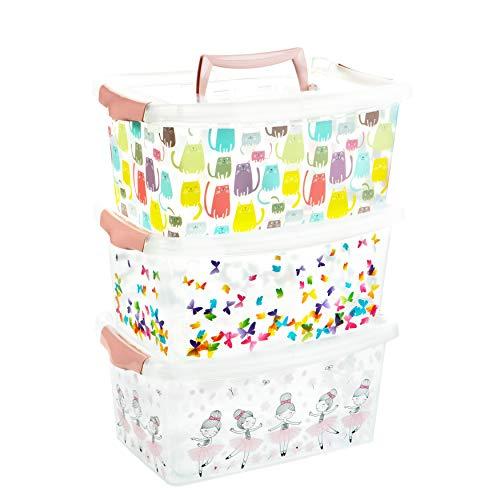 2friends Aufbewahrungsbox Kinder mit Deckel, 3 Stück Rosa, mit Griff im Deckel und Clickverschluss, L29 x B19,3 x H13 cm, 4 Liter, aus Kunststoff, Aufbewahrungsbox mit Deckel Kinder, Made in EU