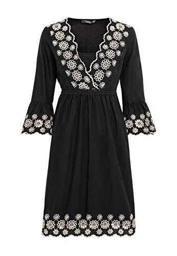 HALLHUBER Hängerkleid mit Kontraststickerei weit geschnitten schwarz, 34