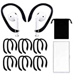 6 Pairs Ear Hooks Anti-Slip Ear Covers Accessories Compatible with Apple AirPods 1 & 2 and Pro(Black)