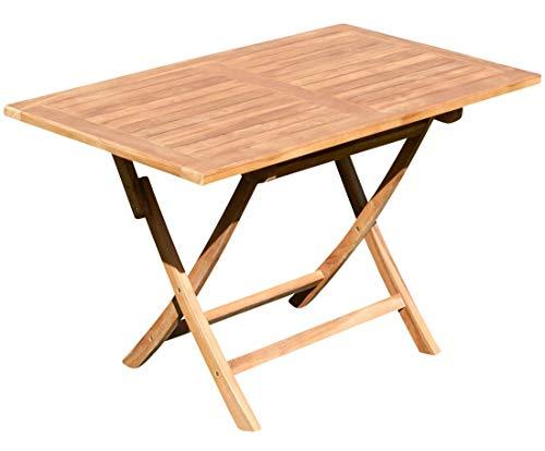 ASS ECHT Teak Holz Klapptisch Holztisch Gartentisch Tisch in verschiedenen Größen von Größe:120x70 cm