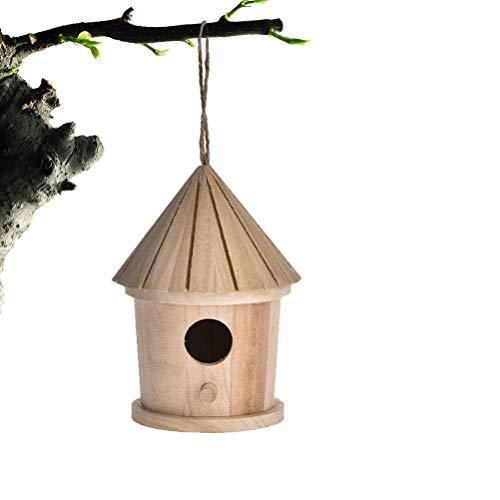 Urisgo Gabbia in Legno Nido Casetta degli Uccelli Naturale per Uccelli Decorazione Primaverile per Uccelli Selvatici e da Giardino