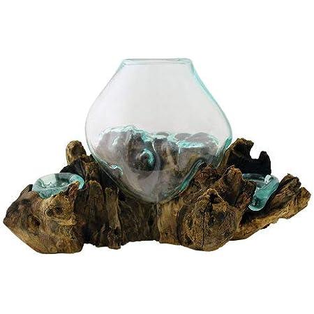 Fairy Garden One of a Kind Hand Blown Molten Glass on Wood Root Base Sculpture Medium 7 x 6 Terrarium Air Plant
