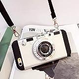 New Emily in Paris Phone Case Vintage Camera, Modern 3D Style Vintage Camera Design Funda de Silicona con Correa Larga para iPhone 11 Pro MAX/X/XS/MAX (para iPhone 12, Blanco)