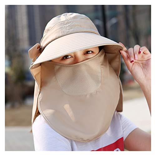 YSJJRGN Sombrero para el Sol Sombrero de Sol de Verano Caja Fuerte y cómodo UV Prueba de impermejos para Padres-niño Sombrero de Sombrero de Playa (Color : Khaki)