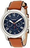 Fossil Men's Grant Quartz Stainless Steel and Leather Chronograph Watch, Color: Silver, Luggage (Model: FS5210IE)