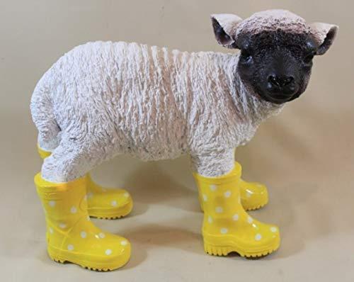 Vamundo Lustiges Deko Schaf, stehend mit Gummistiefel gelb - wetterfest für Innen und Außen