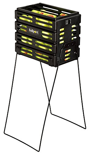 Tourna Ballport Tennis Ball Hopper Holds 80 Balls Durable and Lightweight – Black