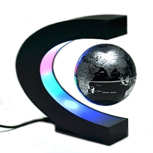 Contever® Fantastique Maison et Le Bureau Décorations - Globe avec C Forme Base lumières LED Champ Magnétique Maglev Globe (Anglais) Cadeau d'affaires avec EU Prise - Noir