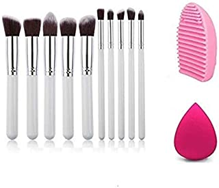 Miss & Mam Professional Makeup Brush Set of 10 pcs White with Sponge Puff and Brush Cleaner