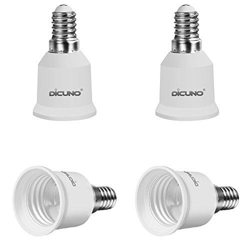 DiCUNO 4-Pack E14 to E27 Socket Adapter Socket Convertidor Adaptador de base para bombillas LED y bombillas incandescentes y bombillas CFL