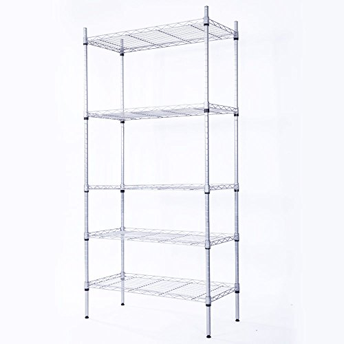 Custcolor 5-Shelf Shelving Storage Unit, Metal Organizer Wire Rack