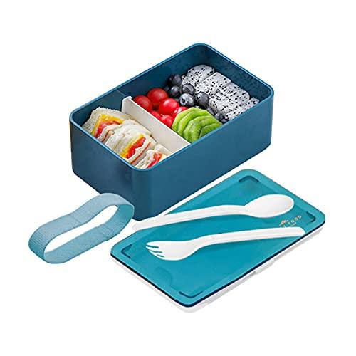 Bento Lunch Box Japonés Premium Fiambrera Con 1 Compartimentos Picnic Lunch Box Con 2 Cubiertos De Tartera Fiambreras Para Niños Microondas Y Lavavajillas Comida En Casa Bento Box Sostenible, Azul