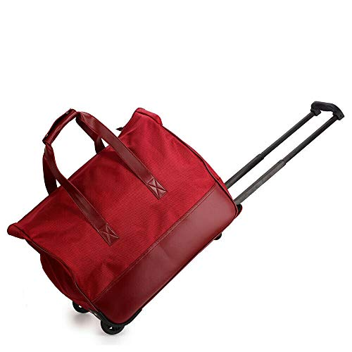 oceanevo Men & Women Holdall Luggage Hand Baggage Canvas Travel Suitcase Floral Cabin Approve Holiday Bag (Burgundy)