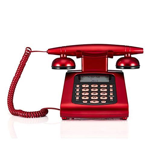 Dfghbn Teléfono Retro Teléfono de identificación de Llamadas de antigüedades Teléfono Familia Familia Americana Americana Teléfono (Color : Red, Size : 14x14.7x14cm)