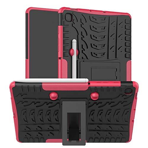 YANGJIE Tab Case per Samsung Galaxy S6 Lite Pneumatico Texture TPU + Custodia Antiurto PC, con Supporto e Vassoio Penna Cover Posteriore per Tablet (Color : Pink)