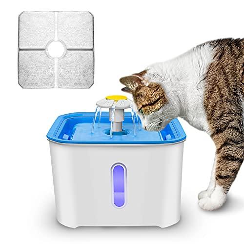 Fuente para gatos con filtro, 4 filtros de carbón activo, dispensador de agua para gatos, con ventana de nivel de agua, luz LED, muy silenciosa, para animales domésticos, 2,5 L