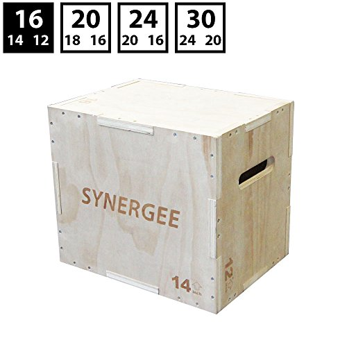 Synergee 3 in 1 Wood Plyometric Box for Jump Training and Conditioning. Wooden Plyo Box All in One Jump Plyo Box Trainer. Size - 16/14/12