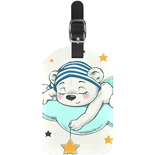 Buenas Noches Oso de Dibujos Animados Etiquetas de Equipaje Lindo Cuero Personalizado con Lazo para Bolsa de Maleta de Viaje casmonal para Mujeres, Hombres y niños 11.4x7.1cm