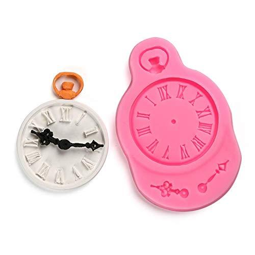 Reloj Reloj Molde de Silicona Herramienta de decoración de Pasteles Hornear Fondant Polymer Clay Resin Candy Fimo Super Sculpey con Seguimiento