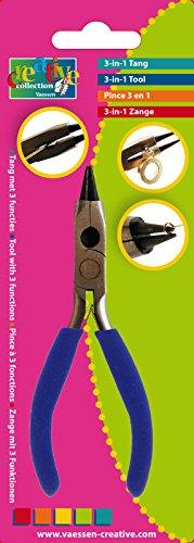 Vaessen Creative 3-in-1-Zange, Werkzeug mit 3 Funktionen für Schmuckherstellung und Do-it-Yourself-Projekte, Steel, Blue, 13 x 5 x 1 cm