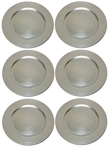 Platzteller Dekoteller 6 Stück Ø 33 cm silber Kunststoff