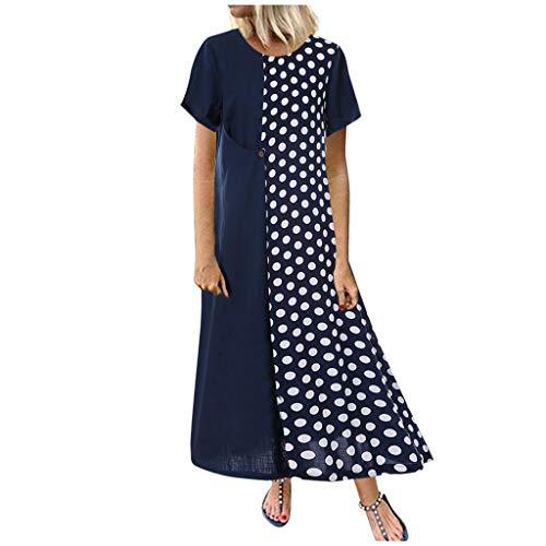 Damen Kleider Sommer Herbst O-Ausschnitt Kurzarm Strandkleid Freizeitkleid Jeanskleider Damen Stretch Boho Langes Kleid Baumwolle Leinen Punkt Bedruckt Partykleid Maxikleid (EU:42, Marine)