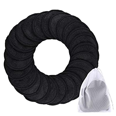 SIQUK 24 Pieces Makeup Remover Pads Reusable Black Face Cleansing Pads 2 Layers Washable Organic Bamboo Cotton Round Cleansing Cloths with Laundry Bag for Eye Makeup Remove Face Wipe
