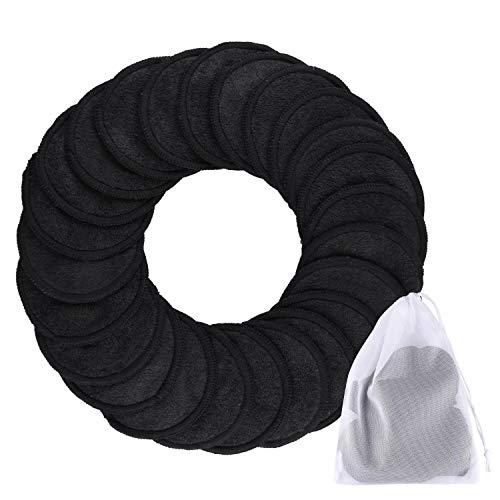 SIQUK 24Pcs Bambus Make-up Entferner Pads Wiederverwendbare Bio-Baumwolle Runde 2 Schichten Schwarz Waschbar Gesichtsreinigungstücher mit Wäschesack für Augen Make-up Entfernen Sie Gesicht abwischen