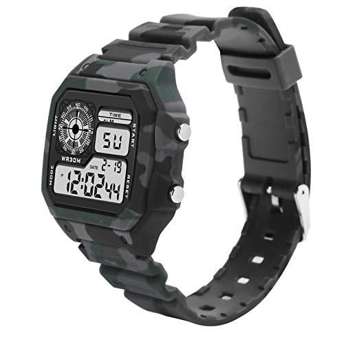 FOLOSAFENAR Reloj electrónico Reloj Digital Multifuncional con Uso cómodo, para Reloj Diario(Camouflage Gray)
